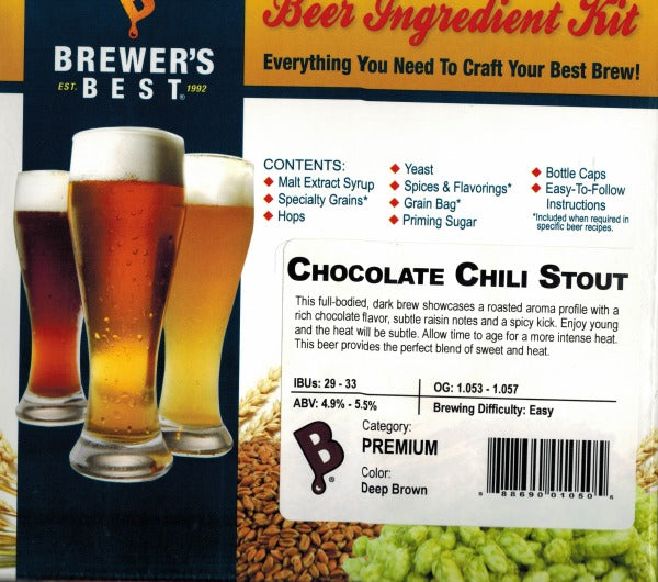 Chocolate Chili Stout Beer Ingredient Kit