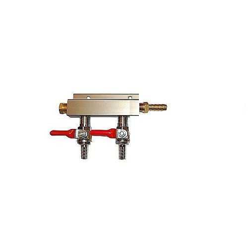 "2 Way CO2 Distribution Block Manifold (Splitter) with 5/16"" Barbs"