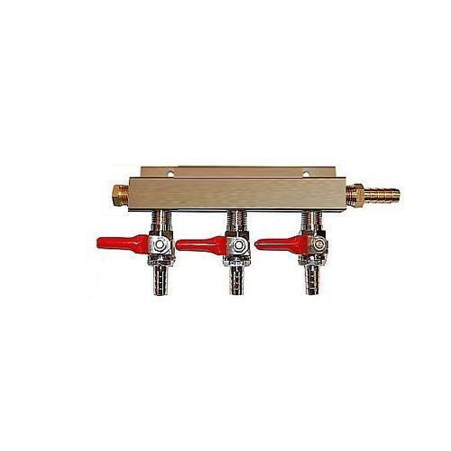 "3 Way CO2 Distribution Block Manifold (Splitter) with 1/4"" Barbs"