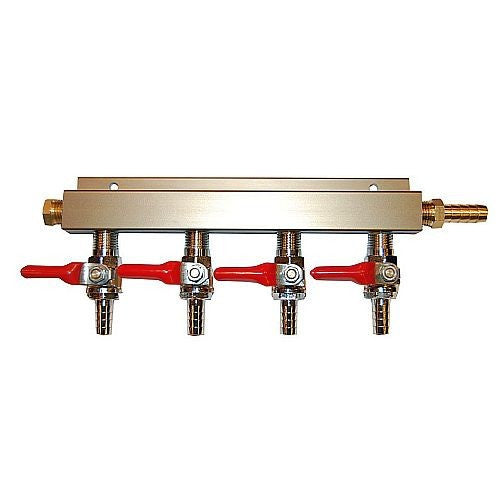 "4 Way CO2 Distribution Block Manifold (Splitter) with 1/4"" Barbs"