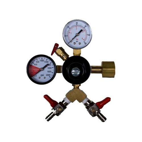 "CO2 Primary Regulator, Dual Gauge with Dual 5/16"" Hose Barbs"