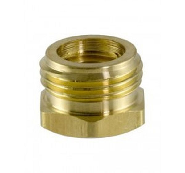 "Brass Garden Hose Fitting, Connector, 3/4"" Male Hose ID x 1/2"" Female Pipe"