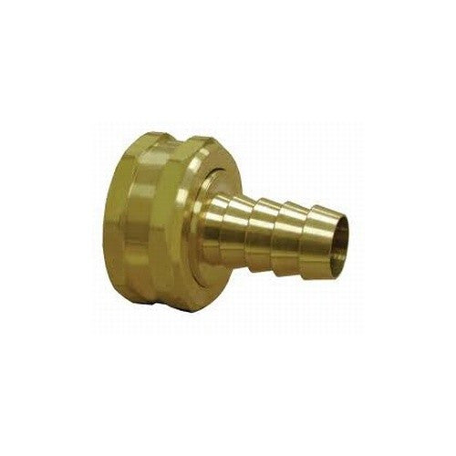 "3/8"" Hose Barb to 3/4"" Female Garden Hose Swivel - Brass"