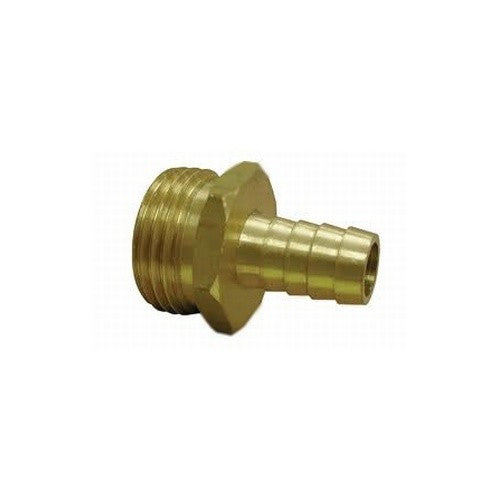 "3/8"" Hose Barb to 3/4"" Male Garden Hose Thread - Brass"
