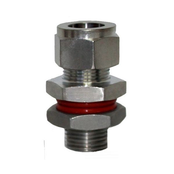 "1/2"" Compression to 1/2"" Male NPT Weldless Bulkhead - 304 Stainless Steel"