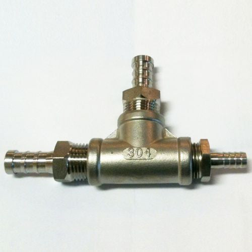 "Inline Diffusion Stone with 3/8"" Hose Barb x 1/2""NPT -2 Micron Stainless"