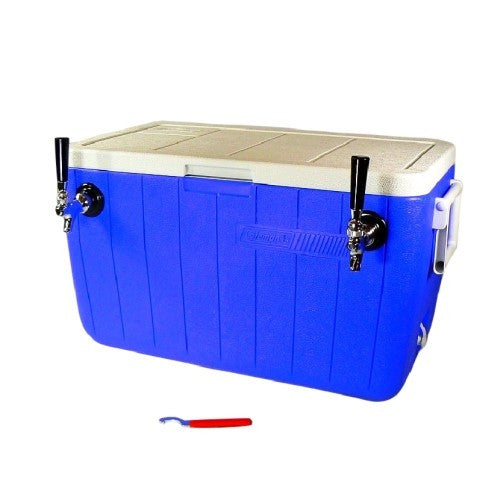 "Jockey Box Cooler - Double Faucet, 50' 3/8"" Stainless Steel Coils, 48qt"