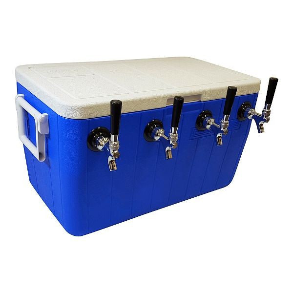 "Jockey Box Cooler - 4 Faucet, 50' 5/16"" Stainless Steel Coils, 48qt"