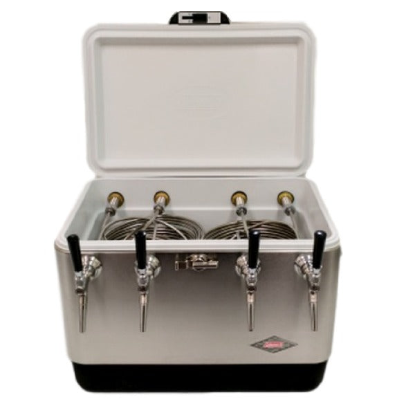 Stainless Steel Jockey Box Cooler - 4 Faucet, 75' Stainless Steel Coils
