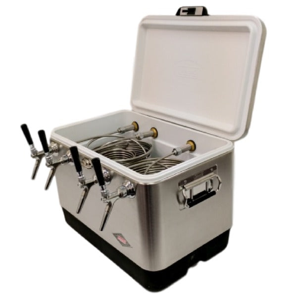 Stainless Steel Jockey Box Cooler - 4 Taps, 50' Stainless Steel Coils