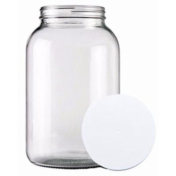 Lid with grommet for 1 Gallon Wide Mouth Clear Glass Jar 128oz