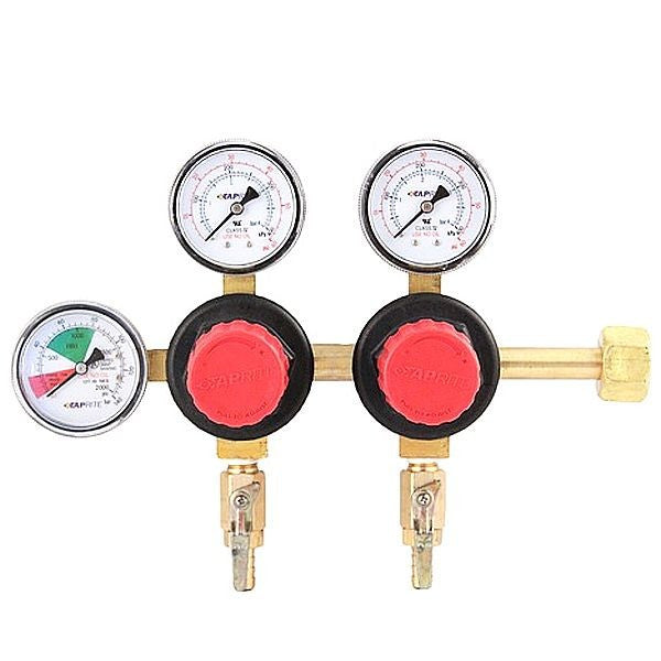 "Dual Product CO2 Primary Regulator, with 5/16"" Hose Barbs"