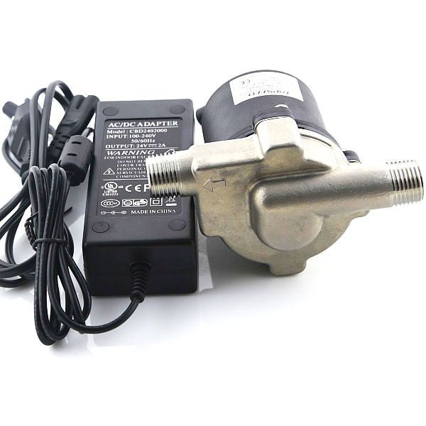 Wort Hog - Stainless Head / DC Home Brew Pump with Mounting Bracket and Power Adapter