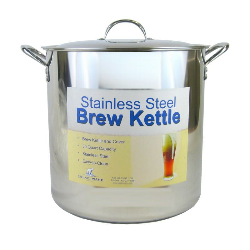 30 Quart Stainless Steel Brew Kettle w/Lid