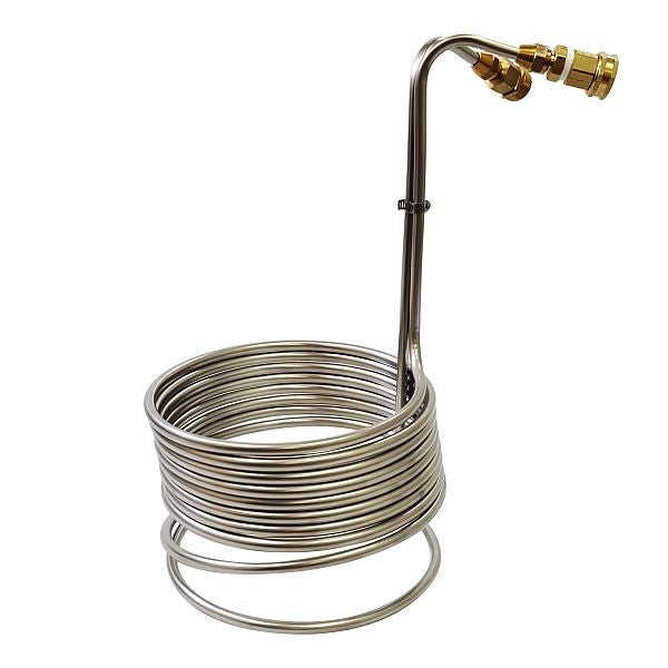 "Super Efficient Stainless Steel Immersion Wort Chiller 3/8"" x 25' - w/Brass GH Fittings"