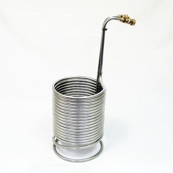 "Stainless Steel Immersion Wort Chiller with Garden Hose Fittings 1/2"" x 50'"