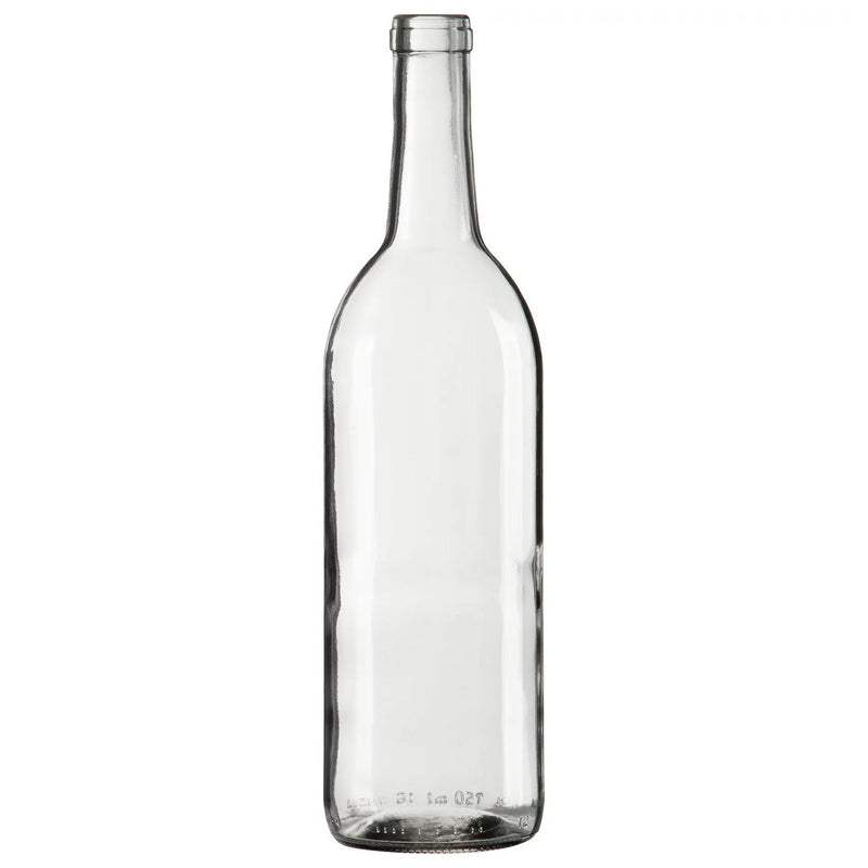 Bordeaux Wine Bottles - 750 ml, Clear, Flat Bottom - Case of 12