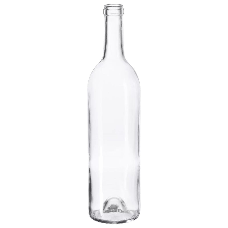 Bordeaux Wine Bottles - 750 ml, Clear, Punt - Case of 12