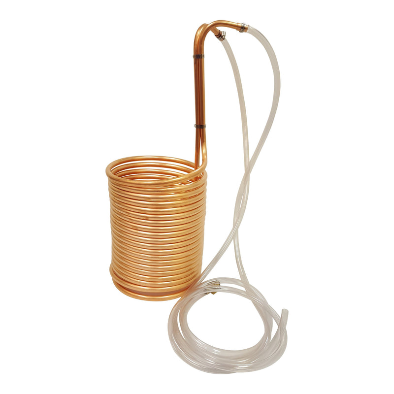 "Copper Immersion Wort Chiller with Vinyl Tubing Attachments 1/2"" x 50'"