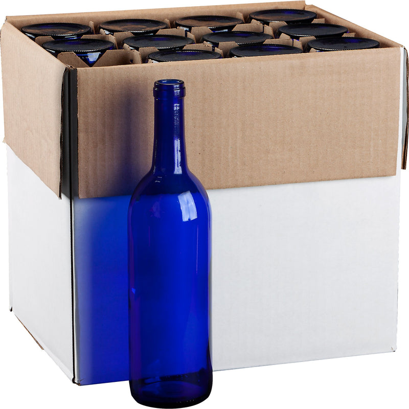 Bordeaux Wine Bottles - 750 ml, Cobalt Blue - Case of 12