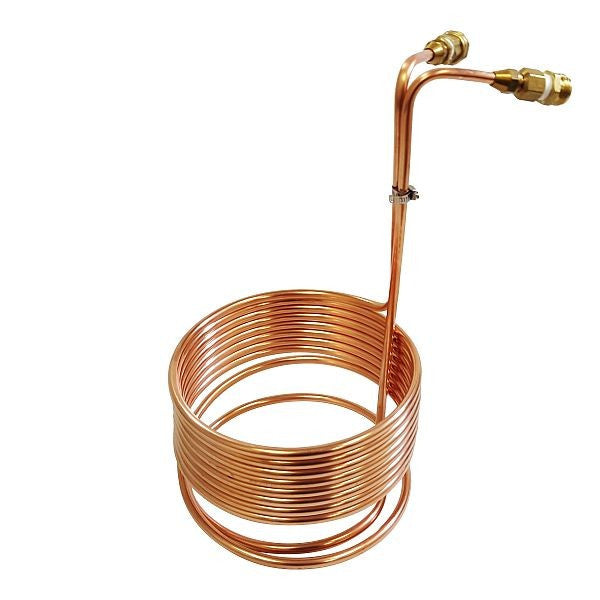"Copper Immersion Wort Chiller with Garden Hose Fittings 3/8"" x 25'"