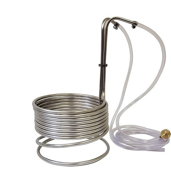 "Stainless Steel Immersion Wort Chiller 3/8"" x 25' with Garden Hose and Tubing"
