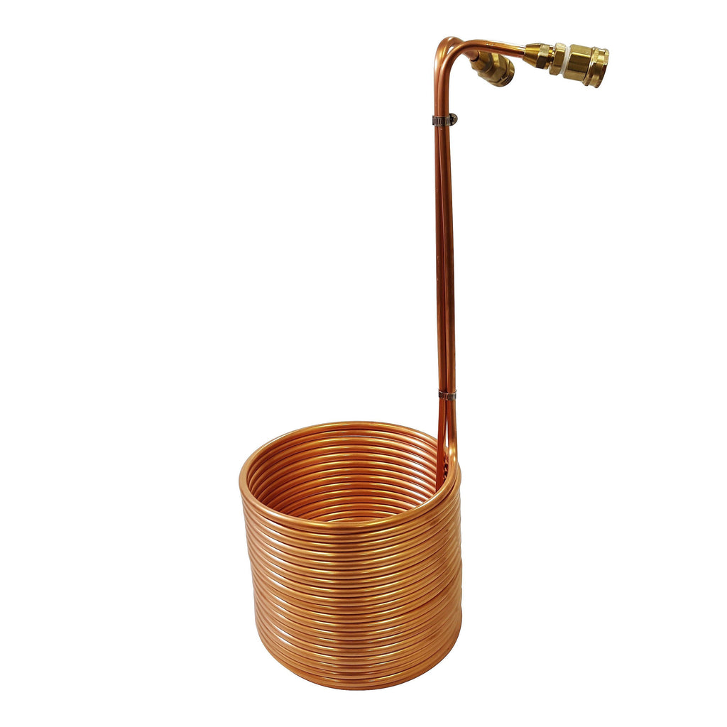 "Copper Immersion Wort Chiller with Garden Hose Fittings 3/8"" x 50'"