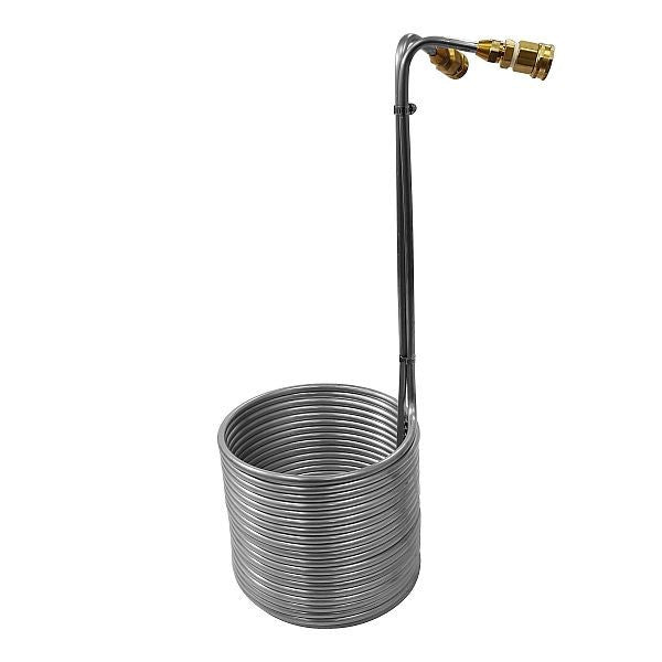 "Stainless Steel Immersion Wort Chiller with Garden Hose Fittings 3/8"" x 50'"