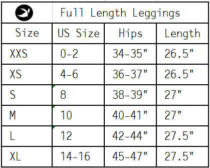 Leggings Sizing