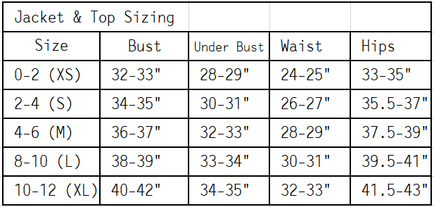 top sizing chart