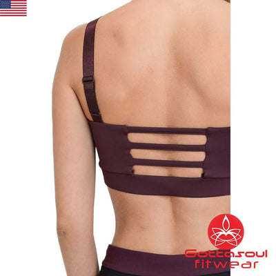 triple cut red yoga bra