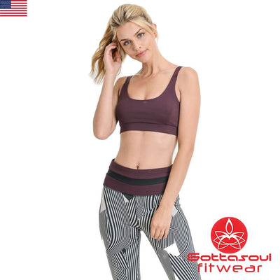 scoop neck red yoga bra