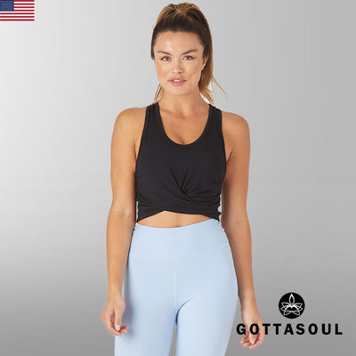 womens black yoga top