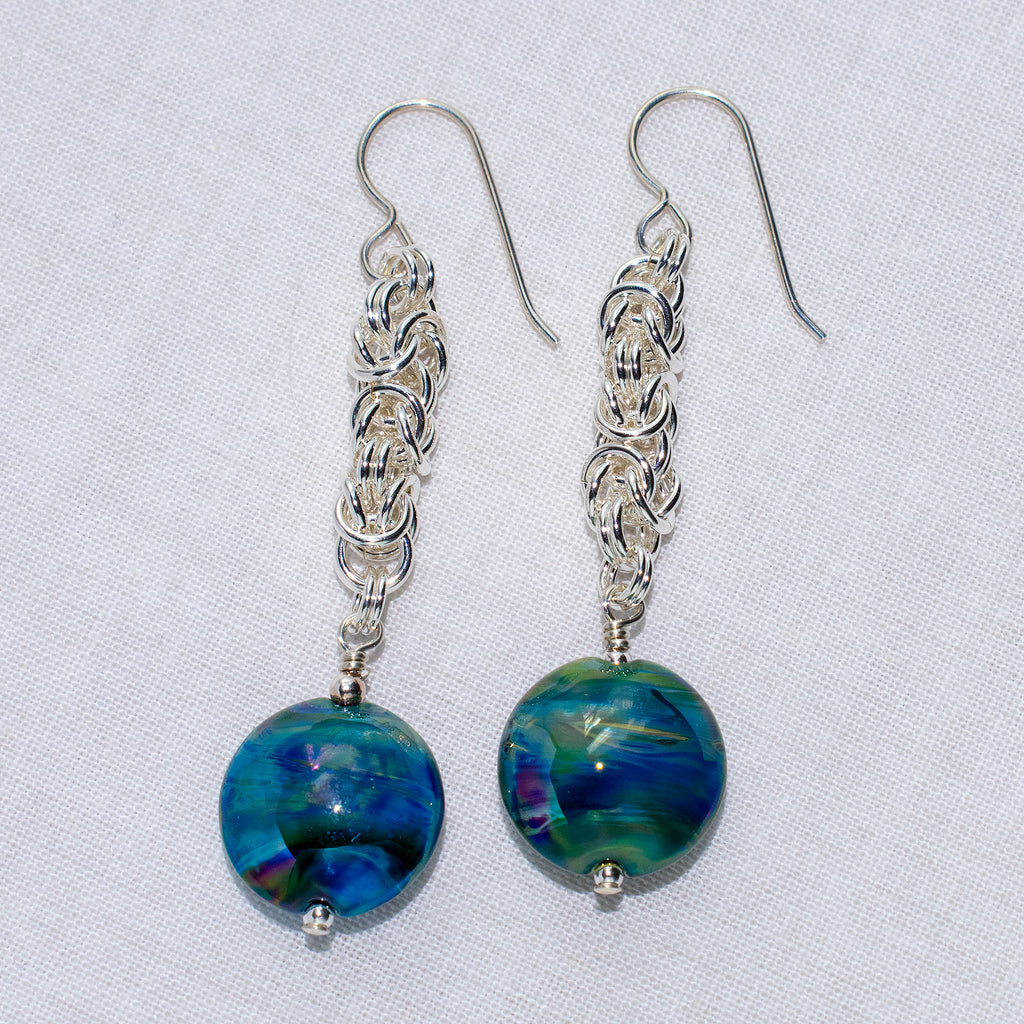Meara Byzantine maille earrings in silver with blue art glass beads