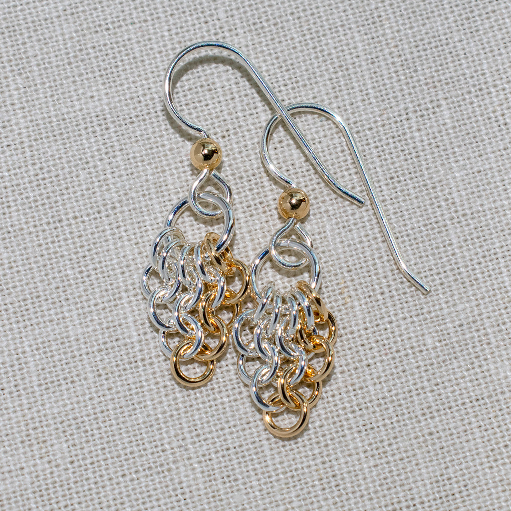 Sterling silver and gold-filled European 4-in-1 chain maille earrings