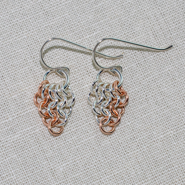 Sterling silver and rose gold-filled European 4-in-1 chain maille earrings
