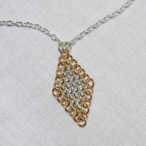 Sterling silver and gold-filled European 4-in-1 chain maille pendant, diamond shape on sterling cable chain