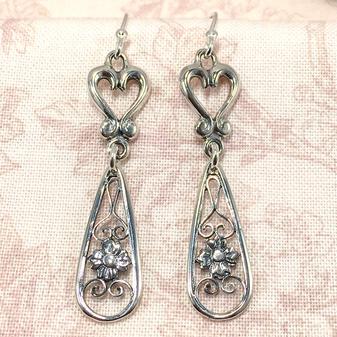Sterling vintage-style earrings with hearts and floral filigree teardrops
