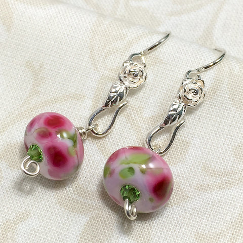 Sterling earrings with pink Impressionist-style art glass beads and silver roses