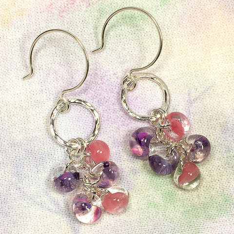 Sterling and fine silver earrings with pink and purple glass teardrop beads