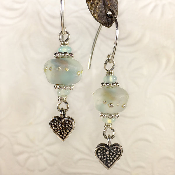 Sterling earrings with pale aqua matte-finish art glass beads, Peruvian opal beads, and heart charms