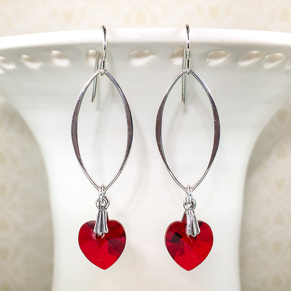 Sterling earrings with marquise links and red Swarovski crystal hearts