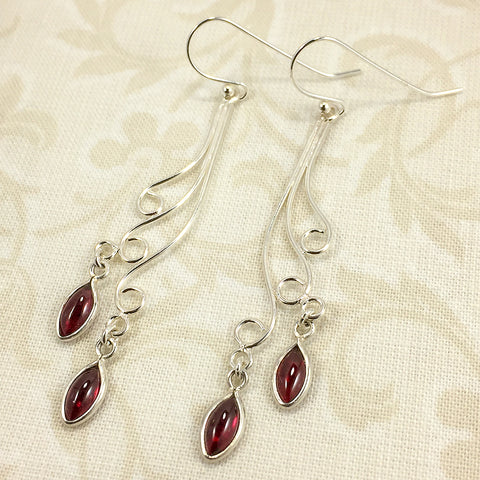 Sterling and fine silver earrings with marquise garnet charms