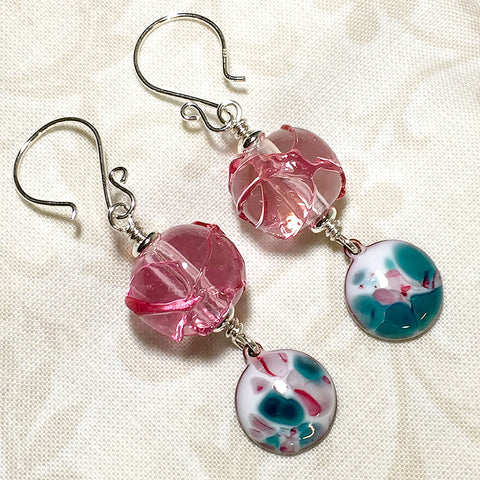 Sterling earrings with textured pink art glass beads and pink and teal enameled copper charms