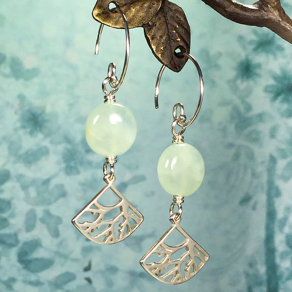 Sterling earrings with prehnite beads and fan-shaped branch pattern charms