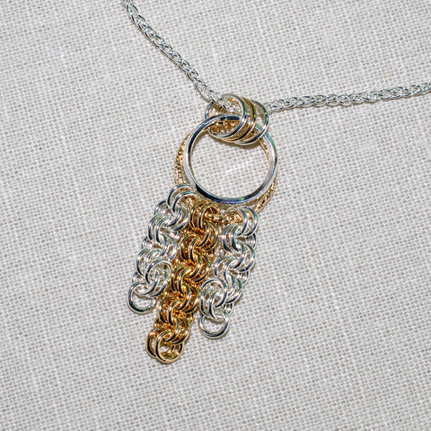 Giselle Art Deco style maille pendant in silver and gold
