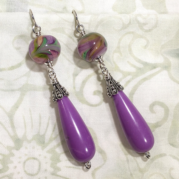 Sterling earrings with purple/green swirl art glass beads and phosphosiderite beads