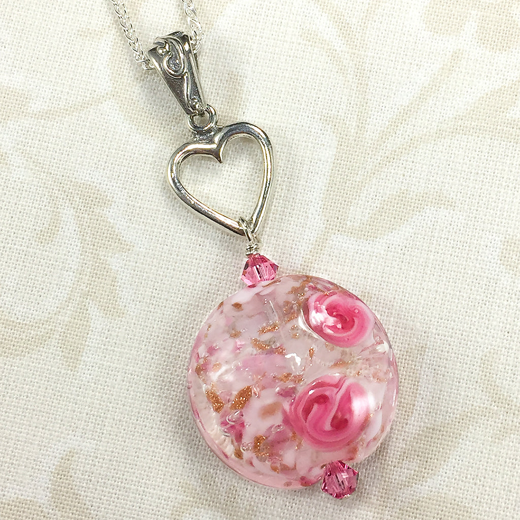 Kerenza necklace with pink rose venetian glass bead and silver heart sterling necklace with heart charm and venetian bead with pink roses audiocablefo