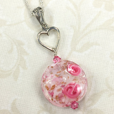 Sterling necklace with heart charm and Venetian bead with pink roses