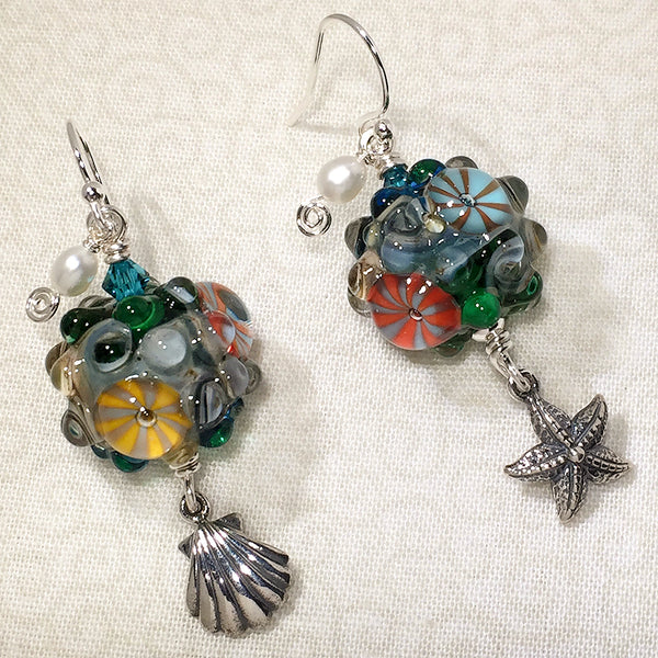 "Sterling earrings with ""tidepool"" art glass beads, silver sea life charms, and freshwater pearls"